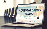 Achieving Career Goals - on Laptop Screen. Closeup. 3D.