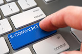 Hand Touching E-Commerce Key. 3D.