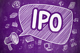 IPO - Doodle Illustration on Purple Chalkboard.
