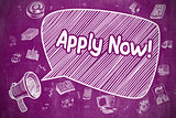 Apply Now - Doodle Illustration on Purple Chalkboard.