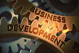 Business Development Concept. Golden Gears. 3D Illustration.