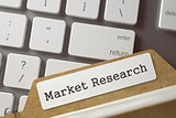 Index Card with Inscription Market Research. 3D.