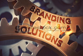 Branding Solutions on Golden Cog Gears. 3D Illustration.