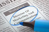 Director Of Marketing And Communications Hiring Now. 3D.