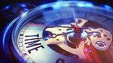 Time - Text on Vintage Pocket Clock. 3D Render.