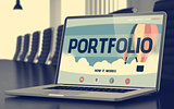 Portfolio Concept on Laptop Screen. 3D.