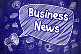 Business News - Doodle Illustration on Blue Chalkboard.