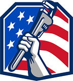 Plumber Hand Pipe Wrench USA Flag Retro