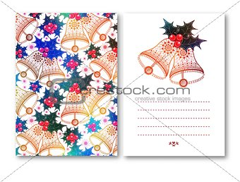 Greeting Cards with Christmas bells red bow and Holly berries on white background. Vector illustration.