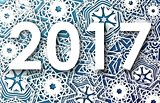 Happy New Year 2017 greeting card with snowflakes background. Vector illustration.