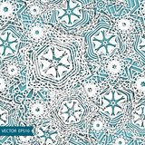 Snowflakes vector blue background pattern. Christmas seamless design for backdrop. Abstract snowflakes with 3D effect, trendy winter concept.