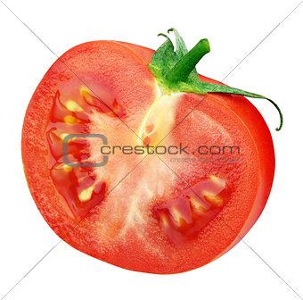 Single half of red tomato on white