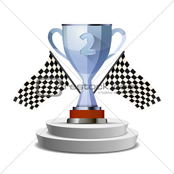 Bright glossy winner cup for second place on pedestal with flags