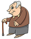 senior with cane cartoon