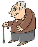 senior with cane cartoon