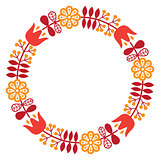 Finnish inspired round folk art pattern - Nordic, Scandinavian style