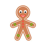 Gingerbread man cookie vector illustration.
