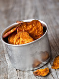 rustic golden sweet potato chips