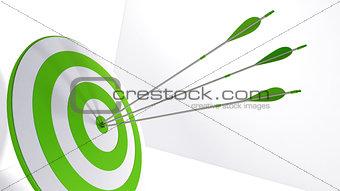3d rendering arrows and bullseye