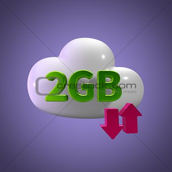 3D Rendering Cloud Data Upload Download illustration 2 GB Capaci