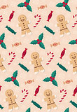 Christmas candies seamless pattern.