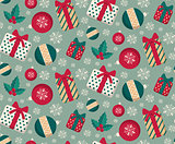 Present boxes and toys seamless pattern.