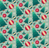 Fir tree and decorative toys seamless pattern.