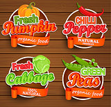 Farm fresh, organic food label. Vector.