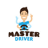Vector cute cartoon style mascot driver school logo. Guru teen driving symbol