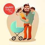 Father Day vector concept. Illustration with happy family. Hipster man and his children.