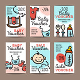 Vector set of discount coupons for baby goods. Colorful doodle style voucher templates. Newborn accessories and clothes promo offer cards.