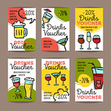 Vector set of discount coupons for beverages. Colorful doodle style alcohol drinks voucher templates. Cocktail bar promo offer cards.