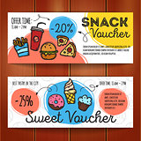 Vector set of discount coupons for fast food and desserts. Colorful doodle style voucher templates. Snack promo offer cards.