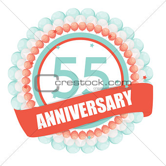 Cute Template 55 Years Anniversary with Balloons and Ribbon Vect