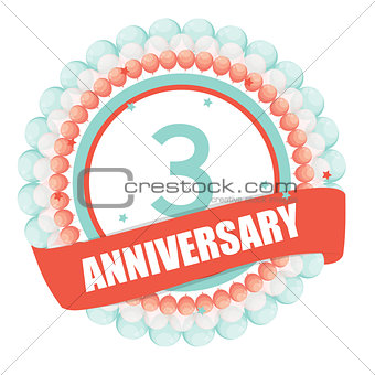 Cute Template 3 Years Anniversary with Balloons and Ribbon Vecto