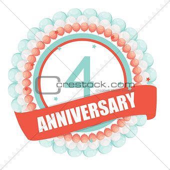 Cute Template 4 Years Anniversary with Balloons and Ribbon Vecto