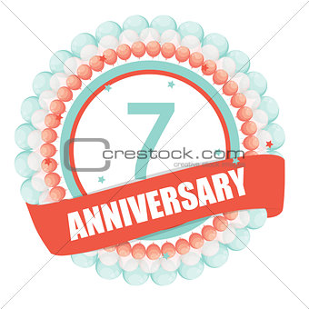 Cute Template 7 Years Anniversary with Balloons and Ribbon Vecto