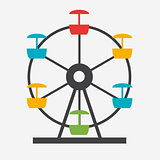 Ferris Wheel Icon Silhouette. Entertainment Round Attraction. Ve