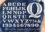 Vintage alphabet blue