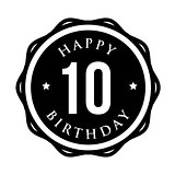 Ten years happy birthday badge ribbon