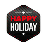 Happy Holiday patch vector red and black