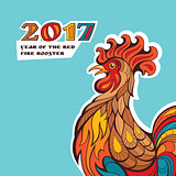 Chinese new year card with colorful rooster