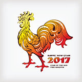 Chinese new year greeting card with colorful rooster