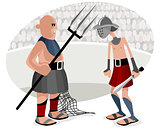 Gladiatorial battles in arena
