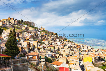 Aidone town in Sicily in spring, Italy