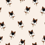 Dog with big head and nose. Vector Seamless pattern.