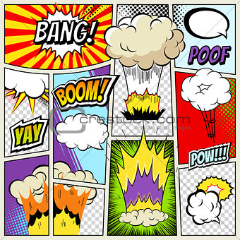 Abstract Creative concept vector comics pop art style blank layout template isolated dots pattern on background. Comic book explosion for Web Mobile Applications, illustration design
