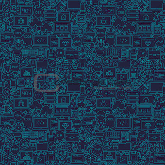 Blue Line Coding Seamless Pattern