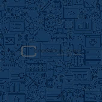 Blue Programming Line Tile Pattern