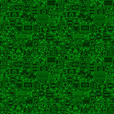 Green Line Coding Seamless Pattern